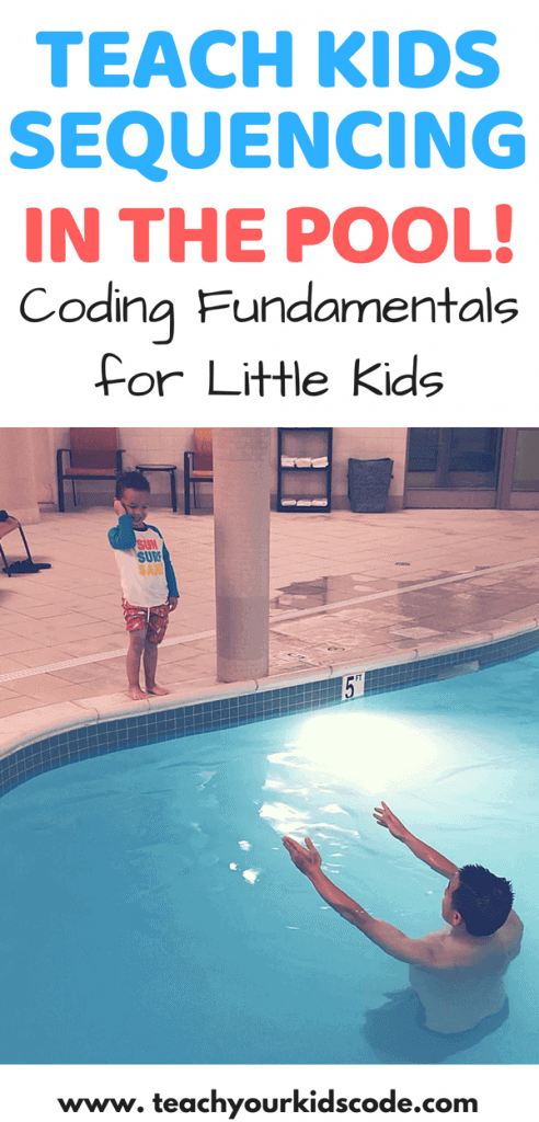 This is a super fun way to learn sequencing! Teaching sequencing is easy with this coding unplugged activity for kids. Hop in the pool and have the kids give you an algorithm to find the buried treasure! An awesome coding activity for little kids. This activity teaches sequencing for kindergarten and sequencing for preschool. Pin this unique way to learn coding for later! #sequencingactivity #preschoolactivities #screenfreeactivities