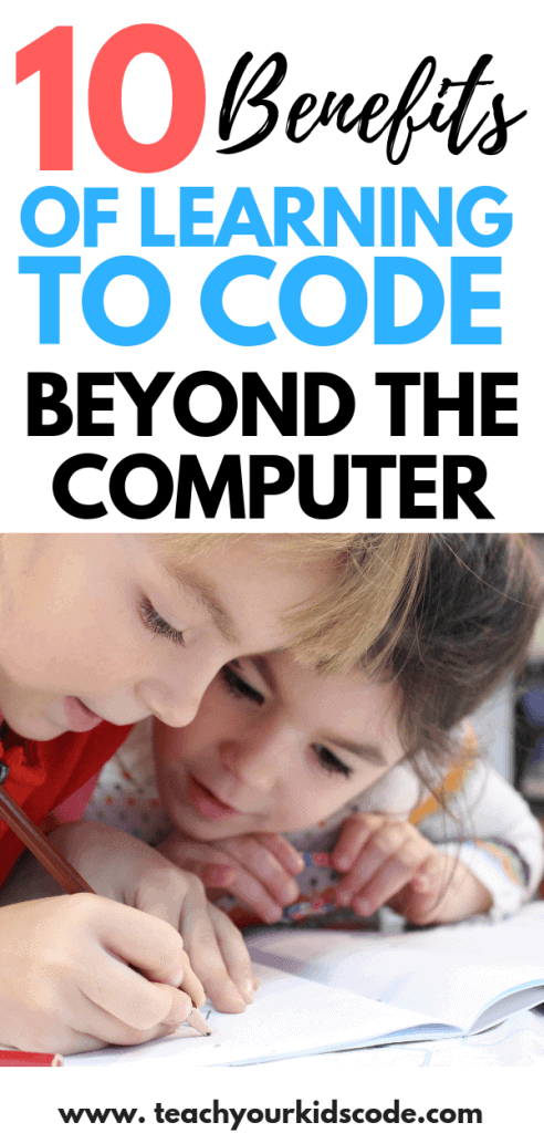 Learning to code is becoming an essential skill for the 21st century. There are so many benefits to learning to code, that its important to teach kids to code from an early age. Coding is not JUST about computers though. Learning to code teaches kids who to be critical thinkers, problem solvers and creators. All skills that are desired in any future career. Check out all the benefits of learning to code beyond the computer here! #coding #computerscience #math #STEM #education