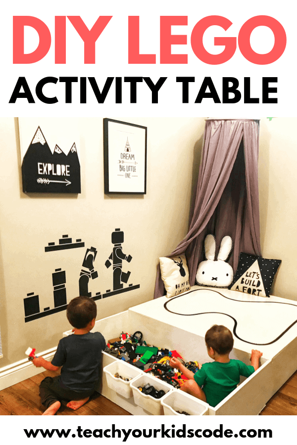 This is the ultimate DIY LEGO Table! We love this LEGO activity table as it has huge LEGO storage. This table was easy to make. You can DIY this project using precut wood from the hardware store. We love this multifunctional kids activity table. Pin it for your next DIY project! #DIY #LEGO #DIYLEGO #DIYkids #KidsDIY #Legotable