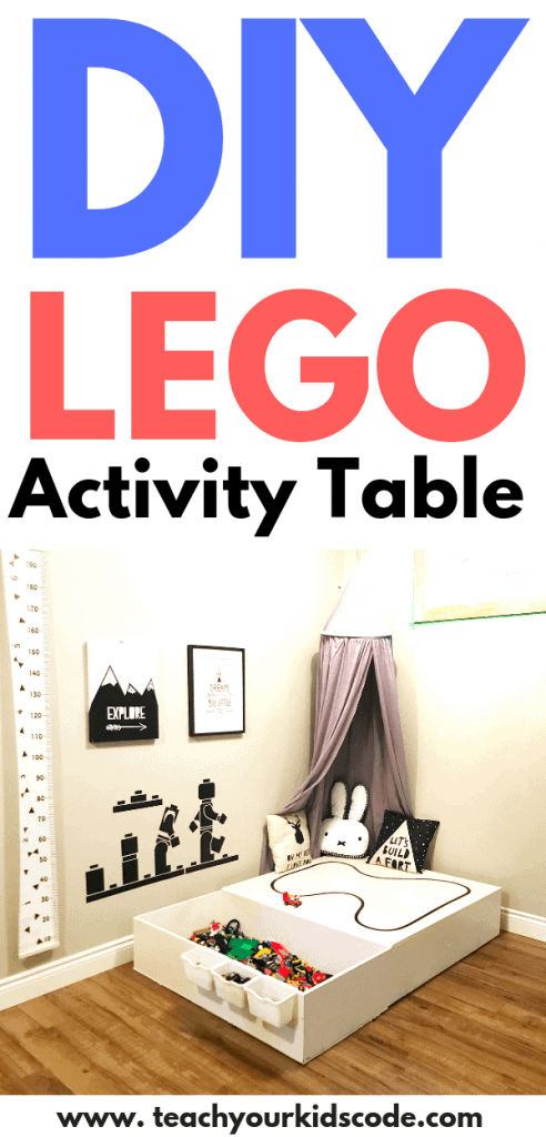 Looking for a LEGO activity table you can make at home? This DIY LEGO table is perfect for LEGO fans that have a large LEGO collection. There is so much LEGO storage in this awesome and east to make LEGO table. The best part is, you don't need to painstakingly organize your lego my color or shape! We love this design. Pin it for your next easy DIY kids project. #DIY #lego #legotable #DIYLego #DIYkids