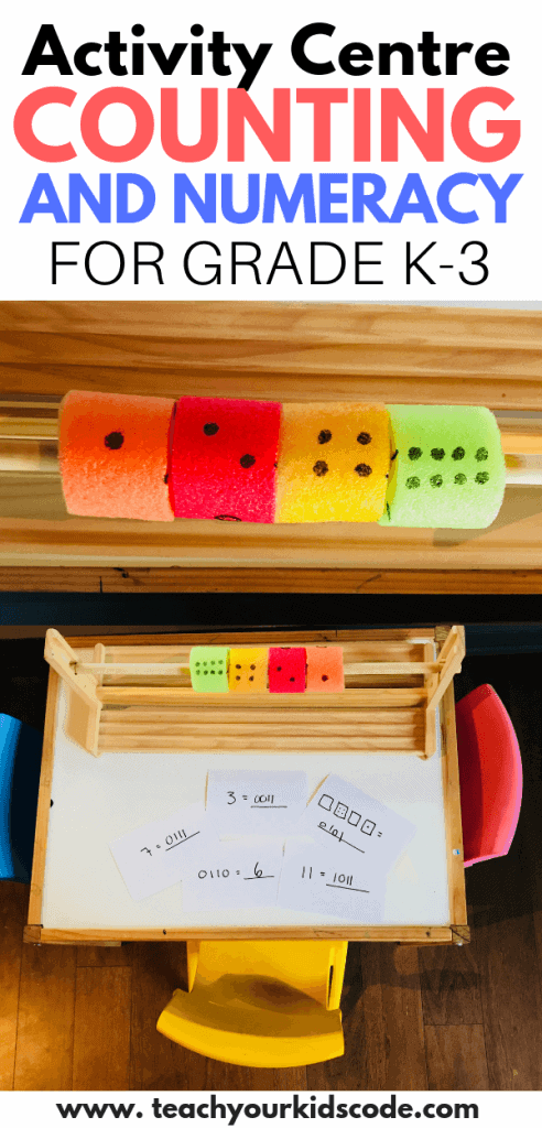 Teach your kids binary numbers! Practice counting and math skills for kindergarteners and primary students with this fun classroom activity. This learning corner makes a perfect math learning center in your classroom or home. Children will learn about the decimal and binary number system #math #education #STEM #classroomactivity #learningactivity #mathcenter