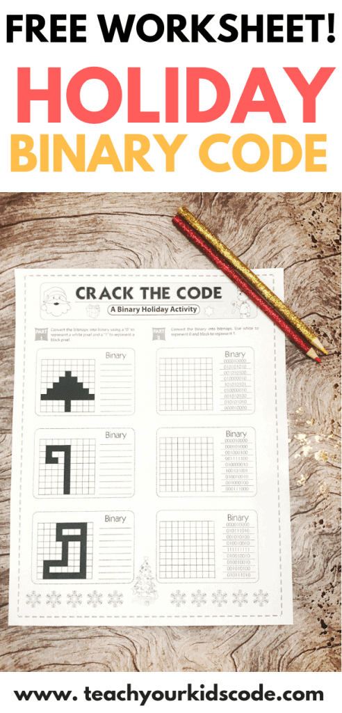 Check out this free holiday coding worksheet. Teach your kids about binary numbers with this binary numbers worksheet for kids. This christmas worksheet for kids is perfect for a holiday computer science lesson. Get kids coding with binary in this simple and fun lesson plan. This free printable is perfect for the classroom #printable #christmas #holiday