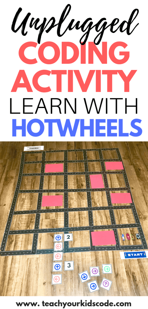 Have fun coding screen-free with this awesome unplugged coding activity with Hotwheels cars. Teach your kids the basic concepts of coding with a grid. This maze activity will have kids learning about algorithms, sequencing and debugging code. Learn to code without a computer in this easy unplugged coding activity. #coding #codingactivity #screenfreecoding #codingunplugged #STEM
