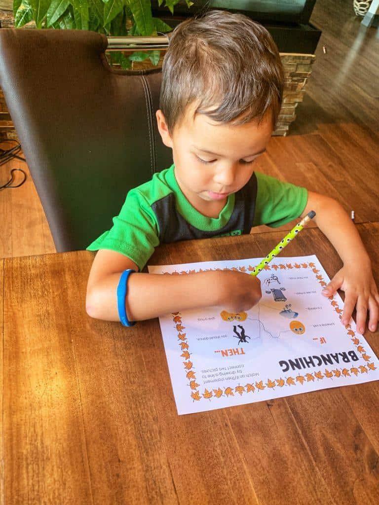 Branching | Coding worksheet for kids | Kindergarten worksheet | If then statements