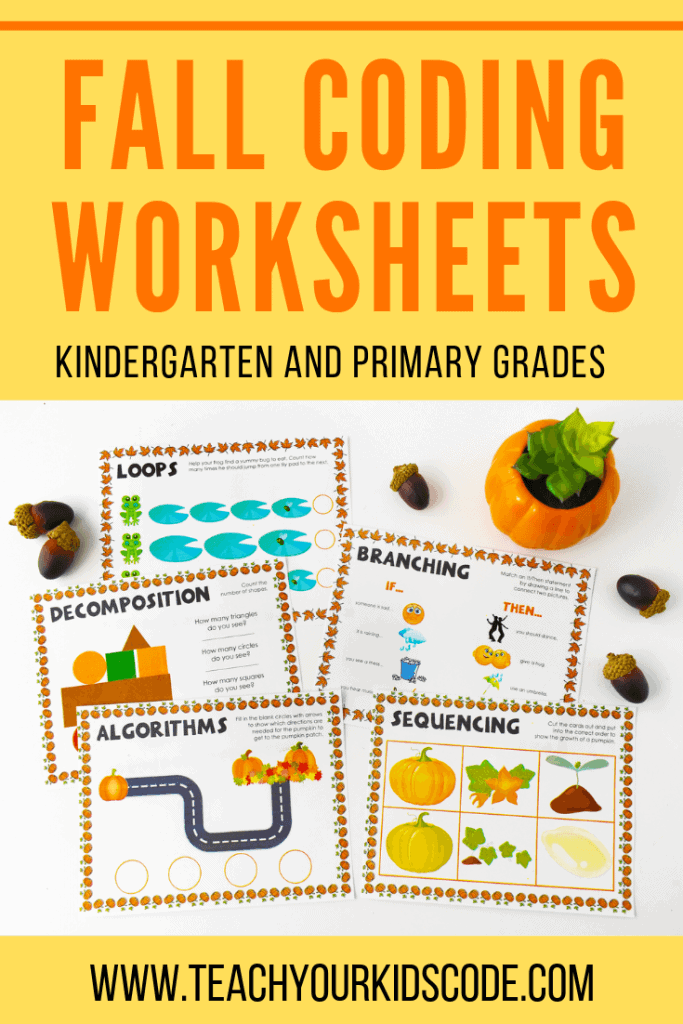 Here is our fall coding worksheets. These coding printables are aimed for children in kindergarten to grade 3. Students will learn the 5 basic concepts of coding including algorithms, loops, decomposition, sequencing and branching. These printable worksheet for kids also encourages number sense, logic and problem solving. Check out our entire set by clicking through! #coding #education #edtech #technology #kindergarten #printable #worksheet