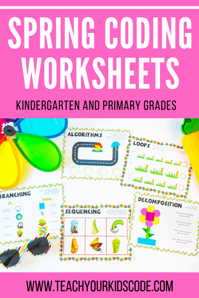 Our spring themed kindergarten coding worksheets! These basic concepts of coding are easy for even kindergarteners to understand. Our coding worksheets explore concepts of algorithms, loops, sequencing, branching and decomposition. These worksheets also help primary students learn number sense logic and critical thinking. Check out all 5 themes! #coding #kindergarten #kidsactivities